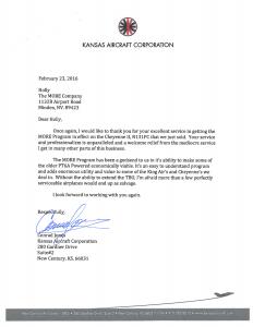 Kansas Aircraft Corp. Testimonial